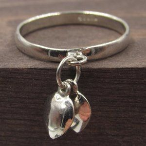 Size 7 Sterling Silver Heart Charm Band Ring
